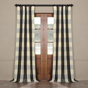 Blue Buffalo Check 96 x 50 In. Faux Silk Plaid Curtain Single Panel