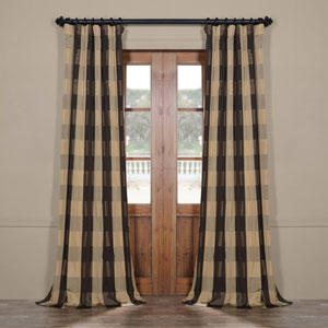 Tan Buffalo Check 84 x 50 In. Faux Silk Plaid Curtain Single Panel