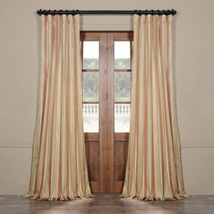 Red and Blue Multicolor 108 x 50 In. Luxury Faux Silk Stripe Curtain Single Panel