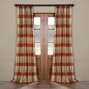 Red and Multicolor 96 x 50 In. Luxury Faux Silk Stripe Curtain Single Panel