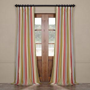 Bright Multicolor 108 x 50 In. Luxury Faux Silk Stripe Curtain Single Panel