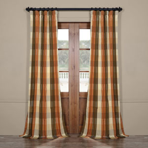 Multicolor Check 96 x 50 In. Faux Silk Plaid Curtain Single Panel