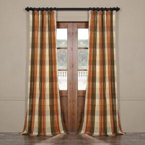 Multicolor Check 96 x 50 In. Faux Silk Plaid Curtain Single Panel