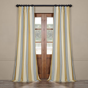 Blue and Yellow 84 x 50 In. Faux Silk Stripe Curtain Single Panel