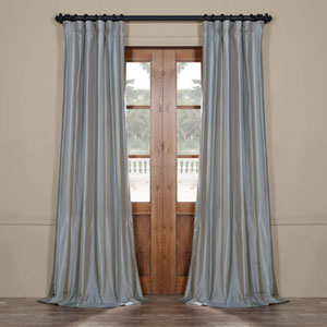 Blue 96 x 50 In. Luxury Faux Silk Stripe Curtain Single Panel