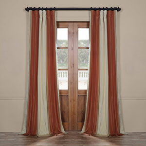 Rust 96 x 50 In. Luxury Faux Silk Stripe Curtain Single Panel