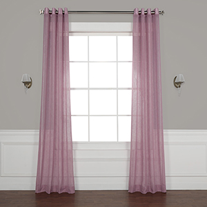 Blackberry Cream 108 x 50-Inch Grommet Solid Faux Linen Sheer Curtain Single Panel