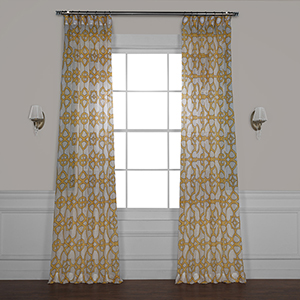 Seaglass Yellow 84 x 50 In. Printed Sheer Curtain Single Panel
