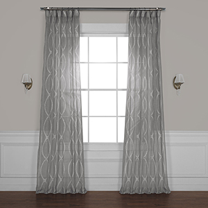 Grecian Grey 108 x 50 In. Printed Sheer Curtain Single Panel