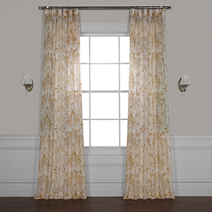Xenia Tan 120 x 50 In. Printed Sheer Curtain Single Panel