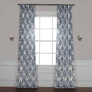Fresco Blue 96 x 50 In. Printed Sheer Curtain Single Panel