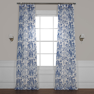 Xenia Blue 84 x 50 In. Printed Sheer Curtain Single Panel