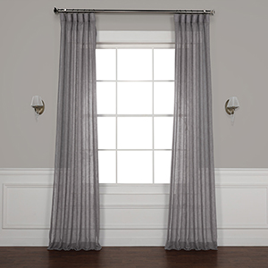 Gravel Grey 96 x 50-Inch Solid Faux Linen Sheer Curtain Single Panel