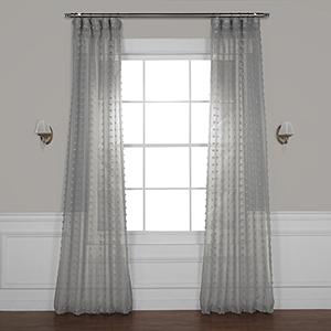 Strasbourg Dot Grey 108 x 50 In. Patterned Linen Sheer Curtain Single Panel