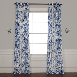 Xenia Blue 96 x 50 In. Grommet Printed Sheer Curtain Single Panel