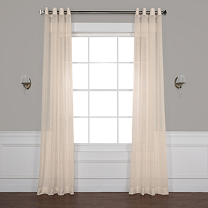 Cotton Seed 120 x 50-Inch Grommet Solid Faux Linen Sheer Curtain Single Panel