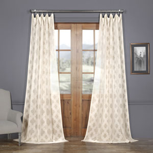 Ivory Tile Patterned Faux Linen Sheer 108 x 50 In. Curtain Single Panel