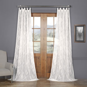 White Vine Patterned Faux Linen Sheer 84 x 50 In. Curtain Single Panel