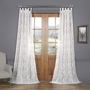 White Scroll Patterned Faux Linen Sheer 108 x 50 In. Curtain Single Panel