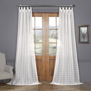 White Dot Patterned Faux Linen Sheer 96 x 50 In. Curtain Single Panel
