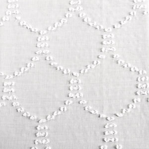 White Shell Patterned Faux Linen Sheer Swatch