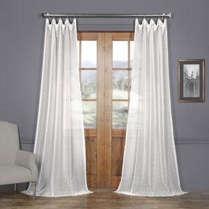 White Striped Faux Linen Sheer 96 x 50 In. Curtain Single Panel