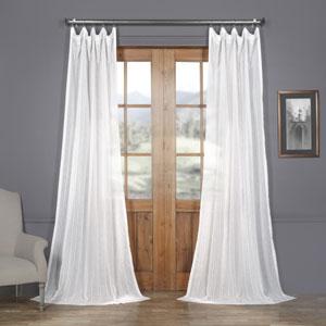 White Bordeaux Striped Faux Linen Sheer 84 x 50 In. Curtain Single Panel
