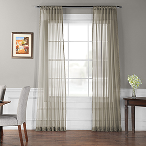 Museum Grey 96 x 50 In. Solid Voile Poly Sheer Curtain Panel Pair