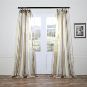 Burnished Gold Vertical Stripe Sheer 108 x 50 In. Curtain Single Panel