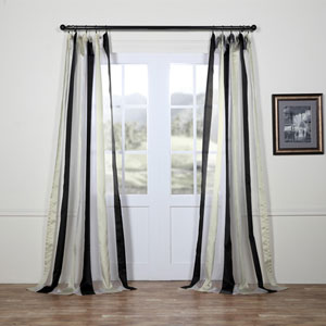 Buffed Black and White Vertical Stripe Sheer 96 x 50 In. Curtain Single Panel