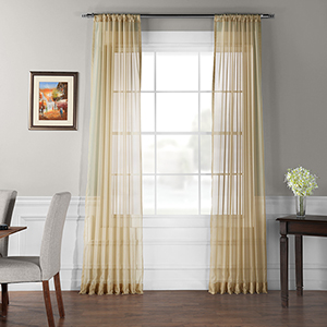 Soft Tan 120 x 50 In. Solid Voile Poly Sheer Curtain Panel Pair
