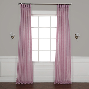 Blackberry Cream 120 x 50-Inch Solid Faux Linen Sheer Curtain Single Panel