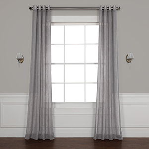 Gravel Grey 84 x 50-Inch Grommet Solid Faux Linen Sheer Curtain Single Panel