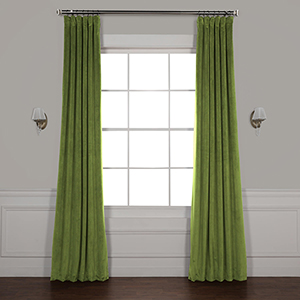 Basque Green 108 x 50-Inch Signature Blackout Velvet Curtain Single Panel