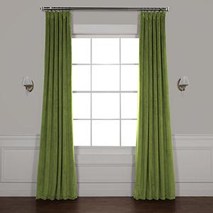 Basque Green 108 x 50-Inch Signature Blackout Velvet Curtain Single Panel
