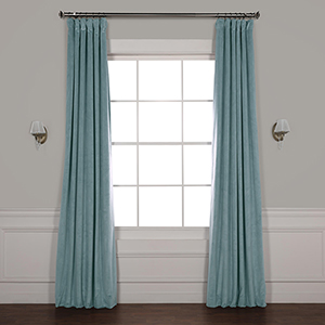 Skylark Blue 120 x 50-Inch Signature Blackout Velvet Curtain Single Panel
