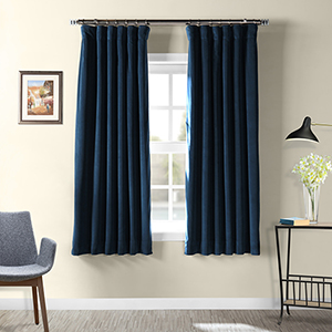 Midnight Blue 63 x 50 In. Signature Blackout Velvet Curtain Single Panel