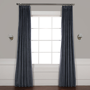 Distance Blue Grey 96 x 50-Inch Signature Blackout Velvet Curtain Single Panel