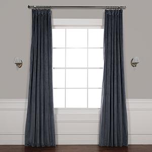 Distance Blue Grey 84 x 50-Inch Signature Blackout Velvet Curtain Single Panel