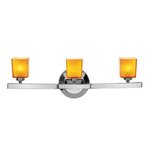 Sydney Chrome Three-Light Vanity with Hermes Amber Glass