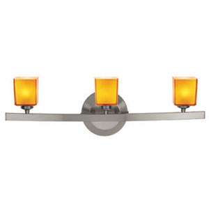Sydney Matte Chrome Three-Light Vanity with Hermes Amber Glass