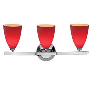 Sydney Chrome Three-Light Vanity with Mania Red Glass