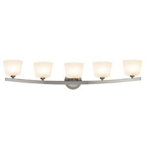 Sydney Matte Chrome Five-Light Vanity with Opal Thea Glass