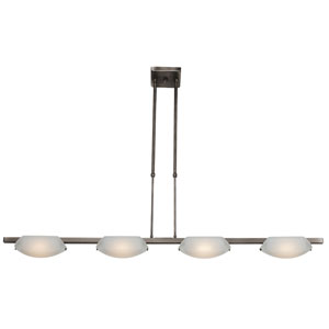 Nido Matte Chrome Four-Light Bar Pendant with Frosted Glass
