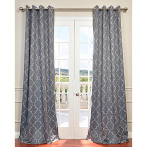 Seville Grey and Silver 108 x 50-Inch Grommet Blackout Curtain Single Panel