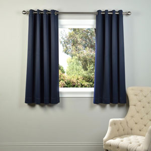 Navy Blue 63 x 50-Inch Grommet Blackout Curtain Panel Pair