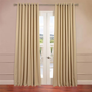 Beige 96 x 100-Inch Double Wide Grommet Blackout Curtain Single Panel