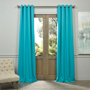 Aqua 84 x 50-Inch Grommet Blackout Curtain Panel Pair