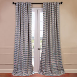 Casablanca Aqua and Beige 50 x 96-Inch Blackout Curtain