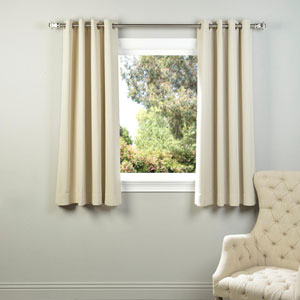 Ivory 63 x 50-Inch Grommet Blackout Curtain Panel Pair